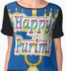 Happy Purim! Esther, King Ahasuerus, Vizier Haman, Torah, Mordecai, drinking feast Chiffon Top