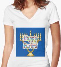 Happy Purim! Esther, King Ahasuerus, Vizier Haman, Torah, Mordecai, drinking feast Women's Fitted V-Neck T-Shirt