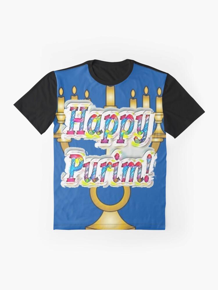 Alternate view of Happy Purim! Esther, King Ahasuerus, Vizier Haman, Torah, Mordecai, drinking feast Graphic T-Shirt