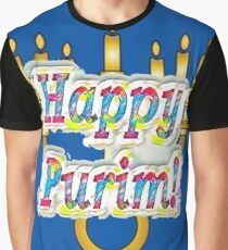 Happy Purim! Esther, King Ahasuerus, Vizier Haman, Torah, Mordecai, drinking feast Graphic T-Shirt
