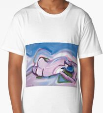 Abstract Reclining Male Nude Long T-Shirt