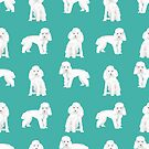 Toy poodle white poodles dog breed pet portrait pattern gifts pet friendly by PetFriendly