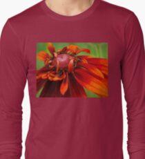 Unfolding Red Flower Long Sleeve T-Shirt