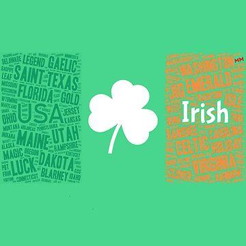 Irish flag with a magic shamrock by martynesmerch