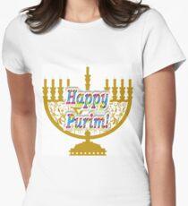 Purim, Jews, King Ahasuerus, Queen Vashti, Jewish girl, Esther, antisemitic Haman, Mordechai, feast Women's Fitted T-Shirt