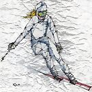 Downhill Skier, Skiing  by kjadesign