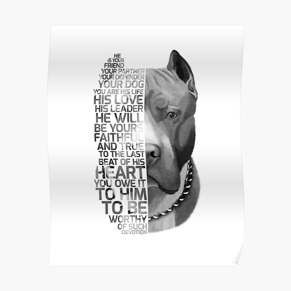 Pit bull Quote, dog quote, Pit Bull Portrait, Pit bull text portrait, Pit bull Painting, Pit Bull illustration Poster