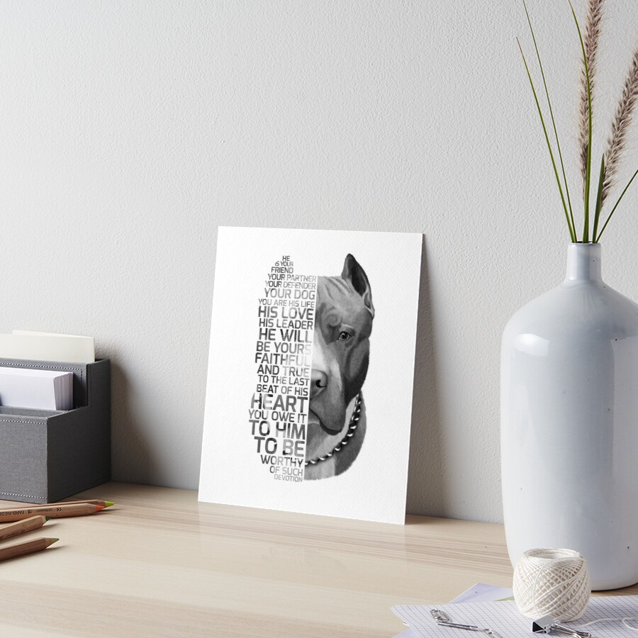 Cita del Pitbull, cita del perro, retrato del pitbull, retrato del texto del pitbull, pintura del pitbull, ilustración del pitbull Lámina rígida
