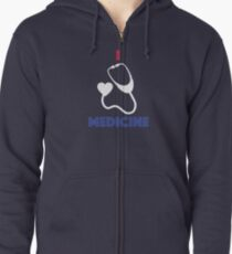 Colorful I Love Medicine with Stethoscope Zipped Hoodie