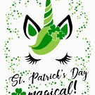 St Paticks Day is magical - Unicorn Baby Toddler Child Shamrock Clover Stars by Cheesybee