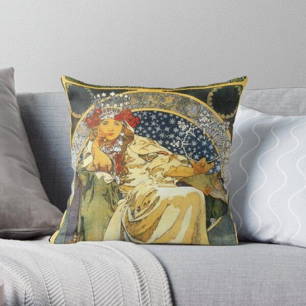 Alfons Mucha Princess Hyacinth Throw Pillow