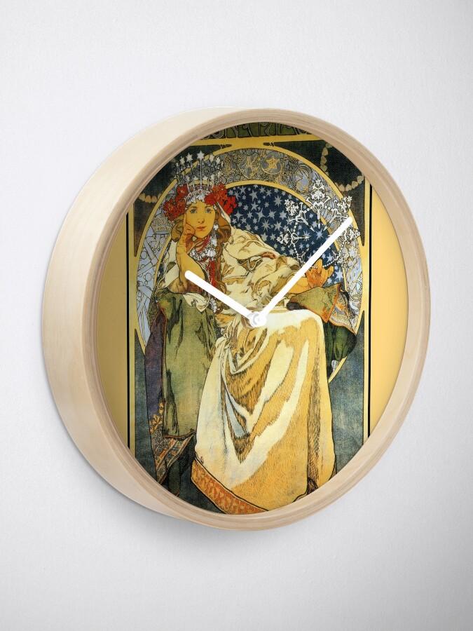 Alternate view of Alfons Mucha Princess Hyacinth Clock