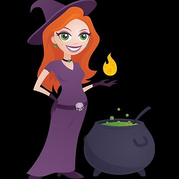 Pretty Witch with Cauldron by fizzgig