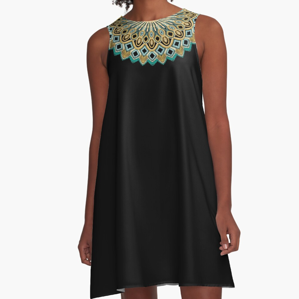 Mandala Project 484 | Teal and Gold A-Line Dress