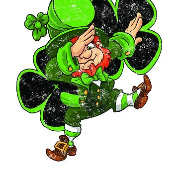 Vintage dabbing Leprechaun with Two Lucky 4 leaf clovers - Tshirts, Hoodies and Tops by chuckletees