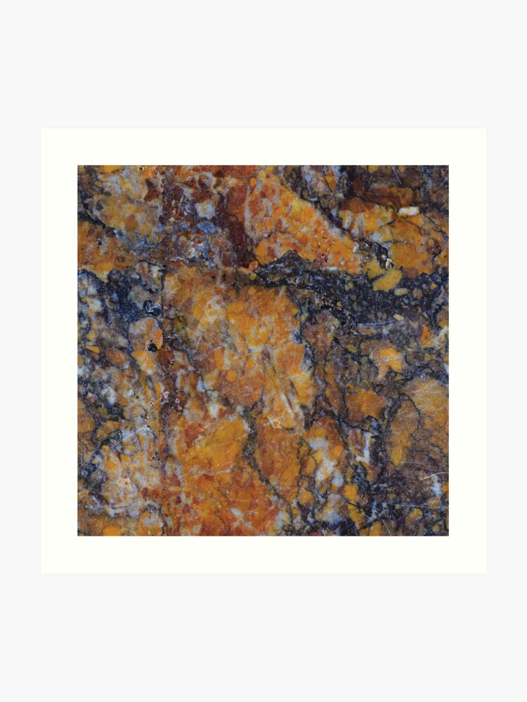 44b489ed5 Neutral Black Rust Color Marble Granite Rock Stone | Art Print