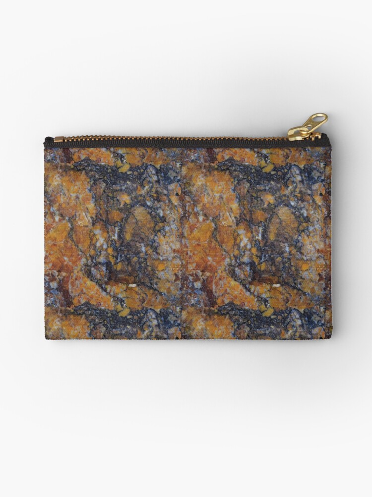 Neutral Black Rust Color Marble Granite Rock Stone Studio Pouches