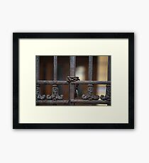 Steel gate closed with a padlock Framed Print
