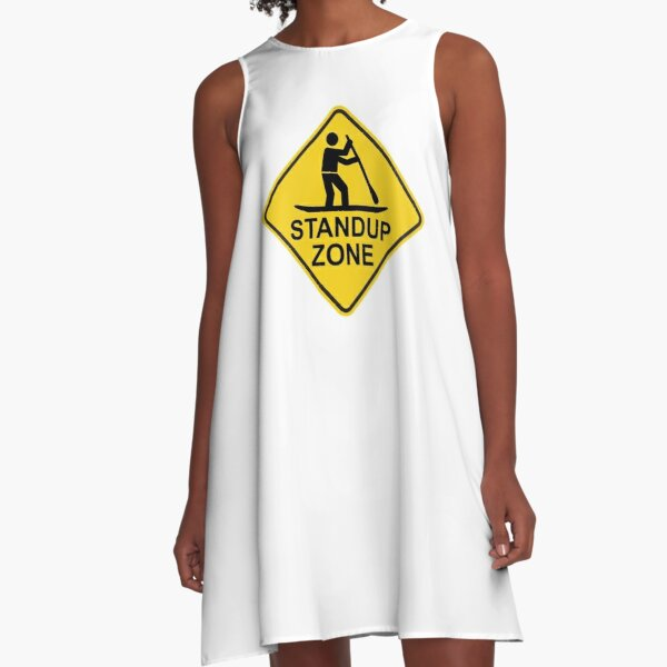 Standup Paddleboarding Zone Road Sign A-Line Dress
