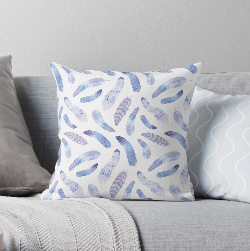 Purple and White Boho Feathers Throw Pillow