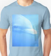 Dolphin swimming underwater in aquarium zoo looking at us color digital photo in pale blue T-Shirt