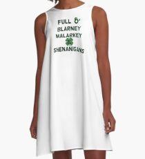 St Patricks Day Distressed Full O' Blarney Malarkey Shenanigans A-Line Dress
