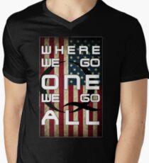 Q - QANON - WHERE WE GO ONE WE GO ALL (UPDATE read description) Men's V-Neck T-Shirt