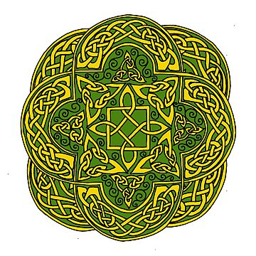 Celtic Roccoco Gold on Green by ingridthecrafty