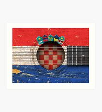 Old Vintage Acoustic Guitar with Croatian Flag Art Print