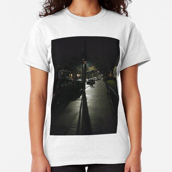 Night, New York, Manhattan, Brooklyn, New York City, architecture, street, building, tree, car,   Classic T-Shirt