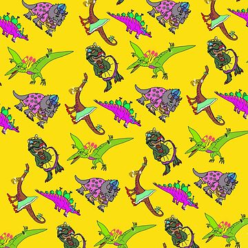 Multiple Dinosaurs Yellow Background by emmafifield