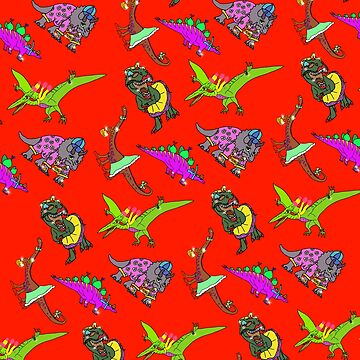 Multiple Dinosaurs with Red Background by emmafifield