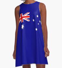 Flag of Australia, blue bg A-Line Dress