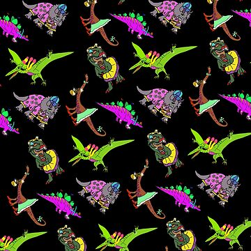 Multiple Dinosaurs with Black Background by emmafifield