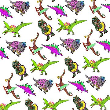 Multiple Dinosaur Design with White Background by emmafifield
