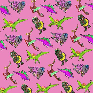 Multiple Dinosaur Design with Pink Background by emmafifield