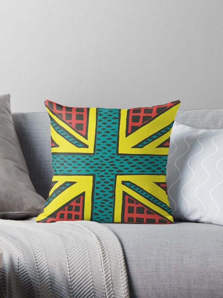 Enjoyable Union Jack Yellow Turquoise Red Throw Pillow By Alyssa Spaeth Creativecarmelina Interior Chair Design Creativecarmelinacom