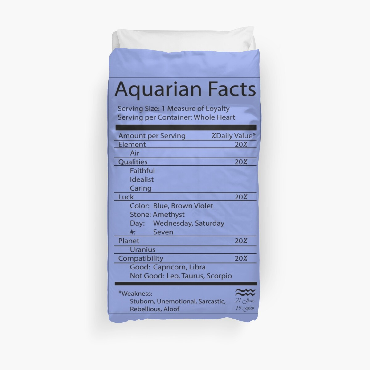 'Aquarius Facts ' Duvet Cover by ArtByMissy