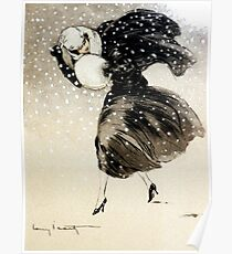 French Art Deco fashion art, Woman In a Blizzard Poster
