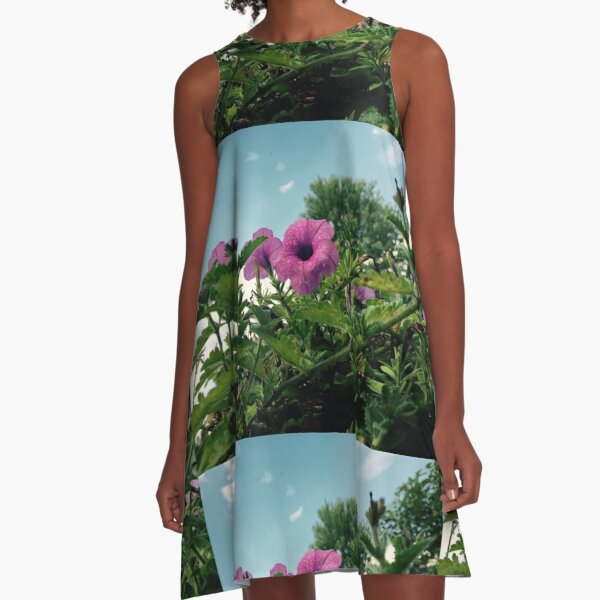 Pink/ Purple Delicate Flower Found in the Overpopulated Streets of South Beach. A-Line Dress