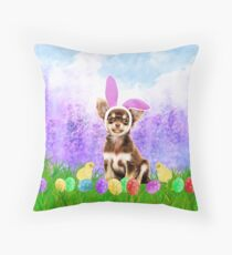 Cute Chihuahua Dog with Easter Eggs Chics Throw Pillow