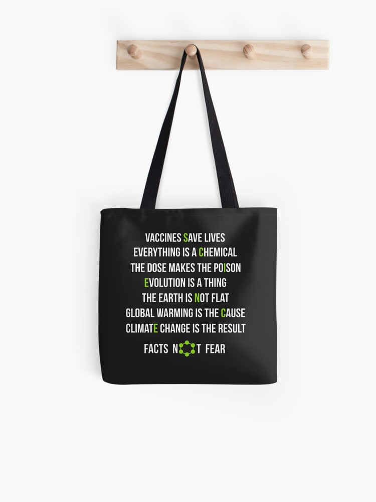 TOTE BLACK SCIENCE PERIODIC TABLE QUALITY COTTON STUDENT BAG FOR LIFE SHOPPER