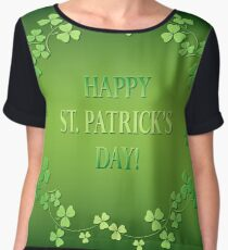 Bright Green Background - Happy Saint Patrick's Day Chiffon Top