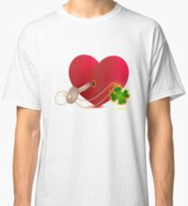 Red heart shaped lock and key with lucky leaf clover Classic T-Shirt