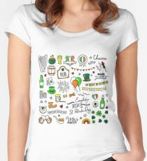 Hand drawn St. Patrick's Day cute doodle Women's Fitted Scoop T-Shirt