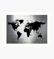 World Map Metal Art Print