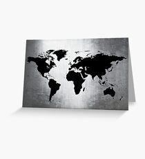 World Map Metal Greeting Card