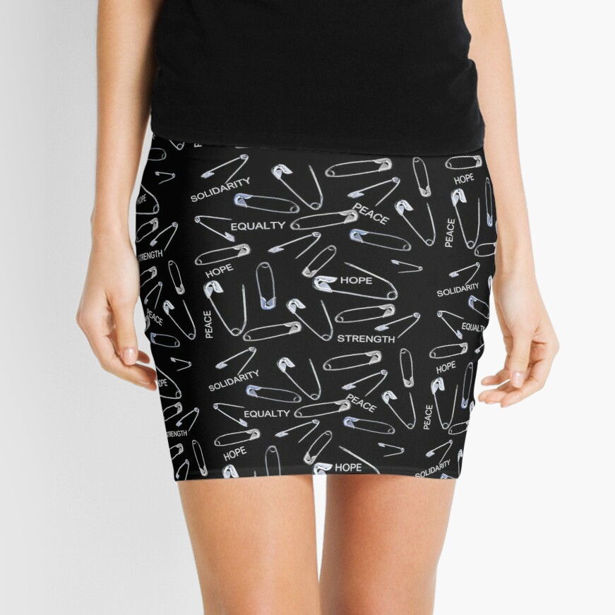 Safe with me safety pins on black with activist slogans Mini Skirt