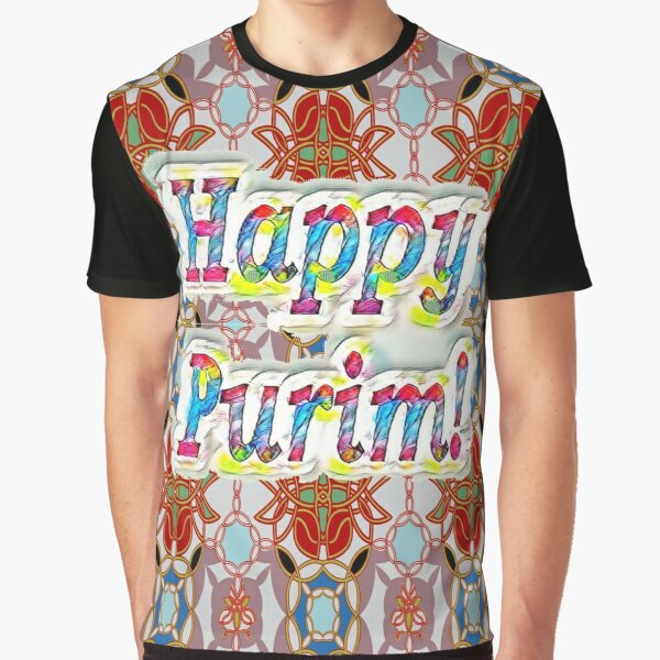 Jewish,  Happy Purim! pattern Graphic T-Shirt