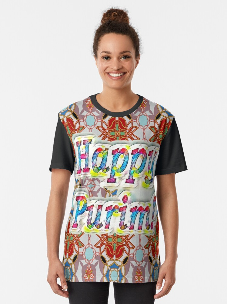 Alternate view of Happy Purim! pattern Graphic T-Shirt